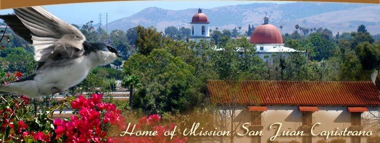 View of San Juan Capistrano with Mission in background